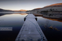Frosty Ladybower (tricky (rick harrison)) Tags: uk winter lake water landscape boats countryside boat frost searchthebest district jetty peak frosty rope reservoir edge pontoon stanage ladybower