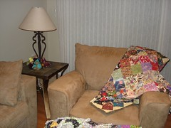 quilt on chair in my living room