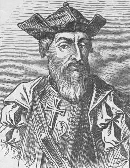 Portuguese explorer Vasco da Gama, in a seventeenth-century woodcut