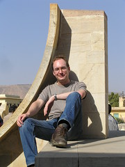 Sitting on the Cancer sundial in Jaipur