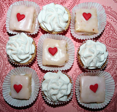 Petit Fours and Petite Cupcakes (sugar-bliss gnome) Tags: food heart valentinesday rosewater quin bloodorange petitfour sweetcandy minicupcake