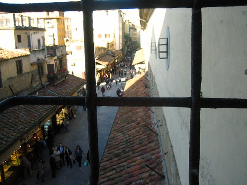 View up the Ponte Vecchio from the Vasari Corridor