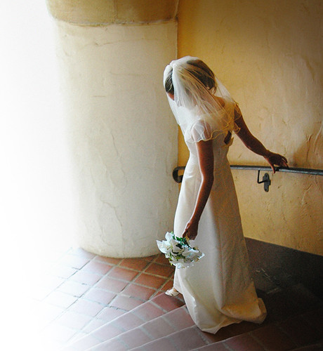 Bride down the stairs