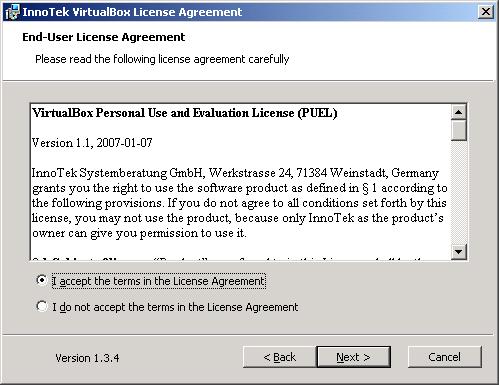 VirtualBox - installazione - accetta licenza