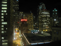 from up here the city lights burn... (zannah) Tags: seattle street city urban night buildings lights downtown cityscape nightscape darkness pacificnorthwest luminous theviewfromhere a640