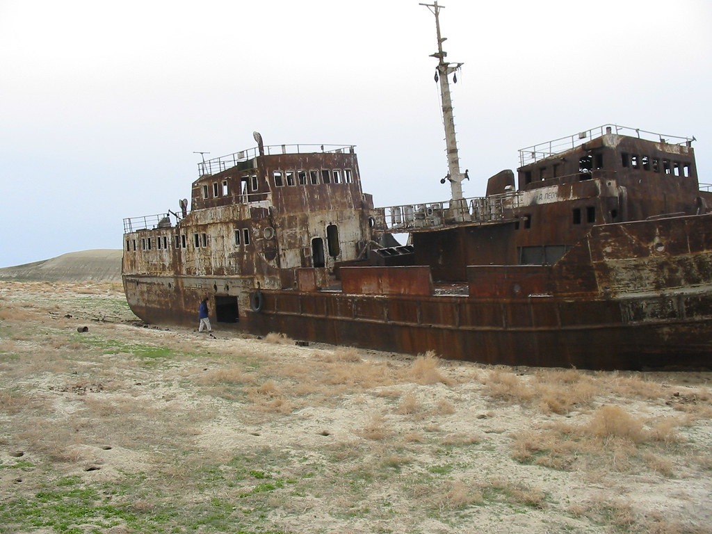 Abandoned ship on exposed seabed of the Aral Sea