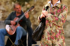 the coat (flamed) Tags: flowers music portugal lisboa lisbon coat acoustic guitarist castelodesaojorge