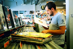 crate digging (lomokev) Tags: california music records shop tom la losangeles dof phillips vinyl depthoffield contax hollywood amoebarecords 12 agfa secondhan
