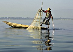 Fisherman on Inlet Lake (fish-bone) Tags: fisherman badge inlet myanmar anawesomeshot