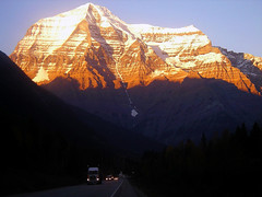 Mount Robson Alpenglow (storm light) Tags: sunset bc mountrobson alpenglow canadianrockies optio43wr mountainsrockymountains elevation35004000m summitmountrobson altitude3959m