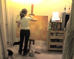 Kristin starting on her latest Mozart painting