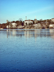 Thin ice (Sameli) Tags: blue winter sea sky cold reflection ice water reflections suomi finland helsinki waters chill
