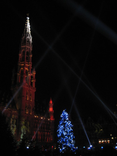 Christmas in Grand Place in Brussels by Erik Cleves Kristensen.