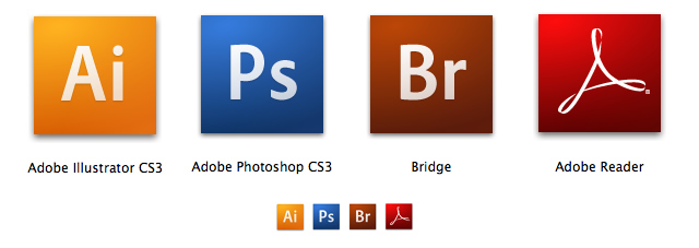 Some of the new Icons of the CS3 suite