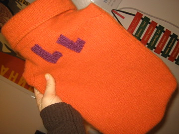 Gift for LL (monogrammed hot water bottle cozy)