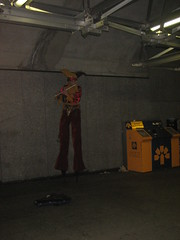Playing the flute on Stilts in the Subway