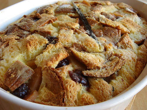 Brioche Bread Pudding with Poached Quince and Dried Sour Cherries