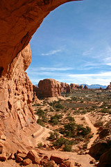 What Do You Mean Ronald McDonald Doesnt Live Here? (Beefus) Tags: southwest nature landscape utah ut scenery arch hiking humor arches mcdonalds backpacking whoa archesnationalpark ronaldmcdonald blueshirt dejected happymeal naturescenes doublearch pendeho