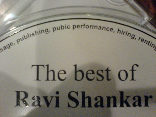 Ravi Shankar CD with a misprint