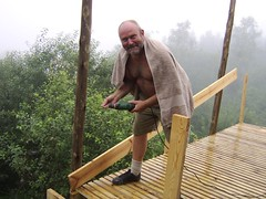Jaap building the deck in the rain