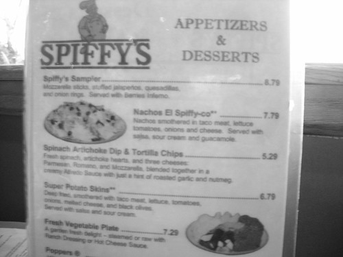 Menu, Spiffy's Restaurant