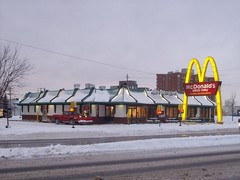 Snow-covered Merivale McDonald's. (Steve Brandon) Tags: roof winter snow ontario canada sign logo geotagged restaurant snowy hiver ottawa fastfood pickuptruck frenchfries mcdonalds cheeseburger hamburger drivethru signage suburb neige plow bigmac nepean  drivethrough goldenarches mcdo franchise  chickenmcnuggets mcdrive  eggmcmuffin  mickeyds  merivaleroad merivalerd ruemerivale