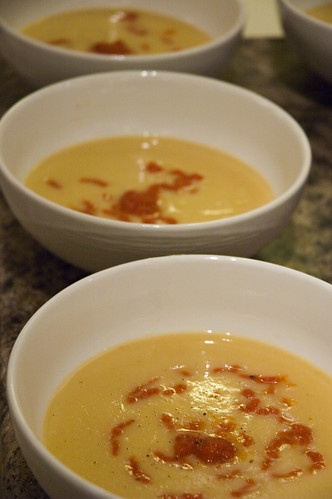 Roasted Parsnip Soup with roasted red pepper coulis