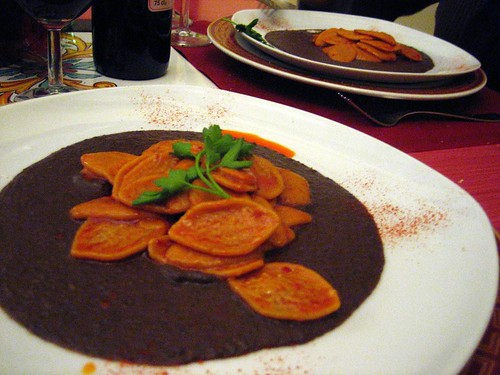Strascinate with Black Bean Puree