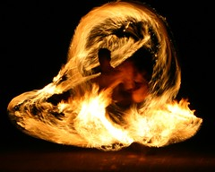 Flame in Motion (Erland Howden) Tags: birthday topv2222 night dark fire dance topf75 flame twirl firedancing poi ropes pois wick firepoi firetwirling firewater sophy erlandhowden fireropes