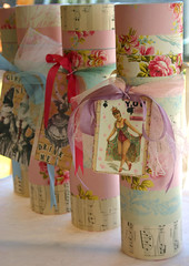 Whimsical Wine bottle totes........ (fleamarketstudio) Tags: art collage vintage scrapbooking wine gift collageart crafty finds alteredart shabbychic winetote