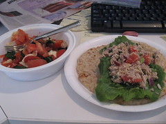 tuna wrap and salad