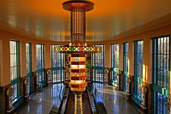 Crown Jewell (FotoEdge) Tags: colors stone bar clouds tile lights 1930s missouri dreams wpa richness deco winds brass moods balconey patina hallofwaters excelsiorsprings waterbar marblebar grittiness guardingthewaters crownjewell