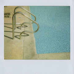 poolside (jena ardell) Tags: california blue sunlight reflection water polaroid concrete swimmingpool ripples ladder poolside jenaardell odetodavidhockney
