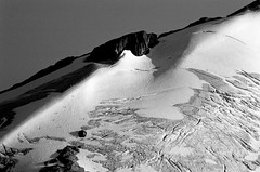 Ruth Mountain bw (Michael Bollino) Tags: blackandwhite sunlight mountain nature glacier climbing mountaineering crevasse climbers northcascades washinton outdooractivities supershot ruthmountain