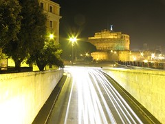 Lungotevere and Castel Sant'Angelo (fonsico) Tags: italy rome roma cars speed italia tunnel lungotevere fortress montenegro castelsantangelo longexposition fonsico dinamyc