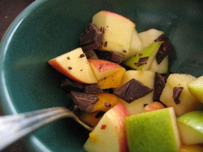 frukt med chili och choklad