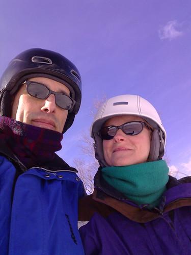 Helmeted Skiers