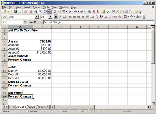 building your own monthly net worth calculator using a spreadsheet the simple dollar. Black Bedroom Furniture Sets. Home Design Ideas