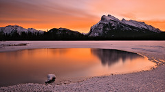 Sometimes Beauty Can Be Cold (Kevin Benedict Photography) Tags: banff alberta canada nationalpark winter sunrise mountrundle mtrundle warmspring hotspring frozen lake water ice dawn morning freezing cold nikon landscape photobenedict travel reflection tree clouds snow vermilionlakes