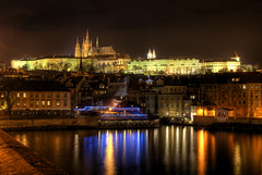 Nocturnal Skyline (Vincnt) Tags: light reflection skyline night czech prague sony praha praskhrad alpha vltava hdr hradany praguecastle vincentvega sigma2470mm essentialbeauty hdratnight