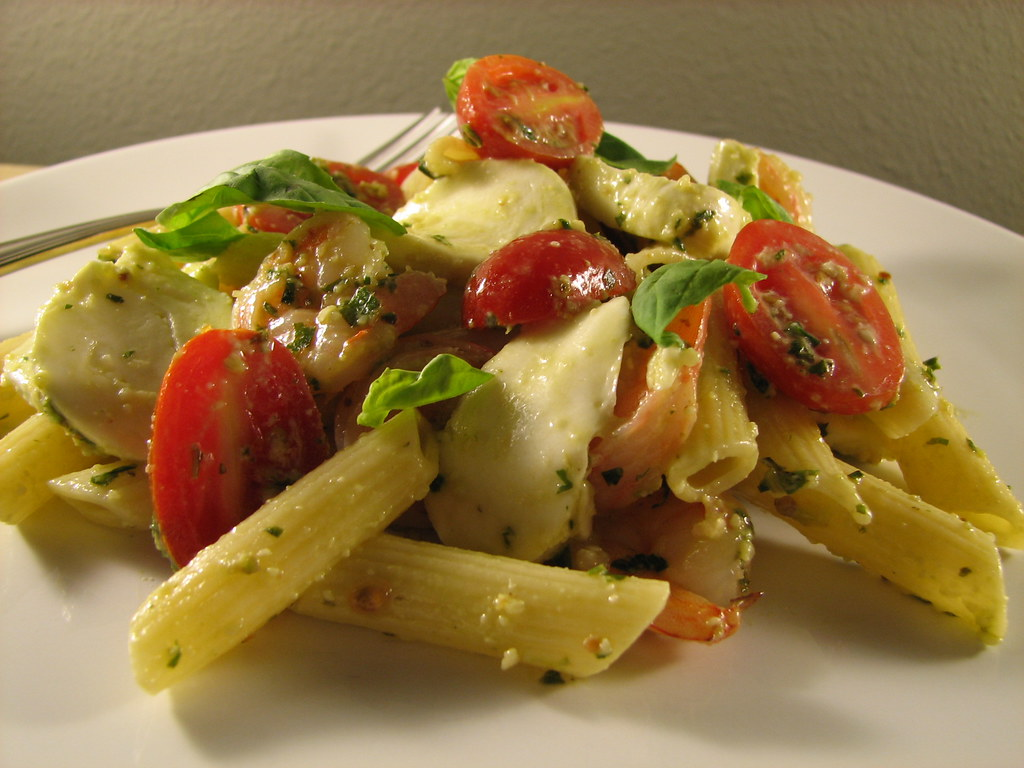 Shrimp and Penne Pasta Salad with Pesto, Bocconcini and Cherry Tomatoes