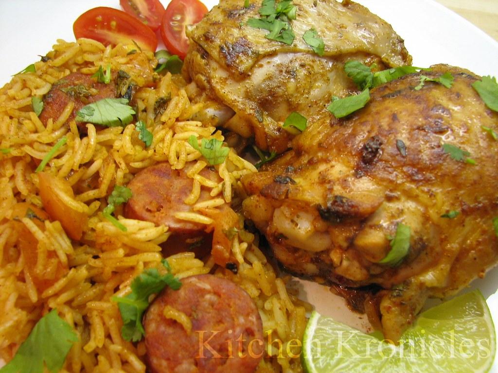 Cuban-Spiced Chicken with Saffron Rice