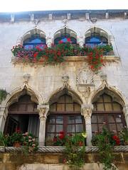 Gothic House, Porec (theredquest.com) Tags: street flowers roses house gothic croatia porec gothichouse decumanus thebalkanodyssey