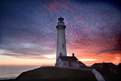 lighthouse at dusk