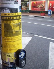 Poster on West End Traffic Light Pole - Dec 20 2006 Rally and March for Justice for Mulrunji, Queens Park to Queensland Parliament, Brisbane, Australia