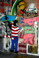 Wheat Paster On 11 Spring (NYC) (Mr. Waldo) Tags: new york city streetart painting graffiti manhattan wheatpaste 11 independent waldo nolita guerilla watchers woostercollective springstreet elizabethstreet groupshow grandclosing