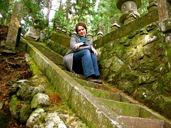 Sitting in the forest 2 (andreakw) Tags: selfportrait me cemetery japan stairs andrea step koyasan  kansai wakayama   okunoin
