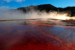 Grand Prismatic Spring Sun Steam (Fort Photo) Tags: nature landscape nationalpark nikon bravo searchthebest d70 nps quality 2006 yellowstonenationalpark yellowstone geology hotspring wy grandprismaticspring geographile magicdonkey 50faves specland fivestarsgallery mywinners abigfave bestnaturetnc06 flickrplatinum