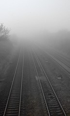 DoF (Depth of Fog) (Ella's Dad) Tags: winter england fog geotagged vanishingpoint moody tracks railway finepix rails convergence fujifilm parallel slough atmospheric 6900zoom sloughtradingestate i500 interestingness271 criticismwelcome ellasdad