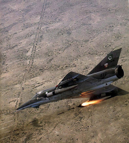A Pakistan Air Force (PAF) French Mirage performs during a routine training mission. --- Makan, Pakistan ---